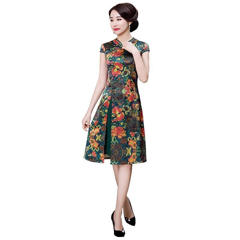 Green New Chinese Style Print A Line Dress Vintage Ladies Short Qipao Rayon Classic Stage Show Elegant Female Cheongsam M 3XL
