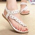 Hotsales Mulheres Sandálias de Verão 2016 de Moda de Nova Boêmia das Mulheres Flor Sapatos Sandalias Femininas Tanga Casuais Apartamentos Sapatos Mulheres