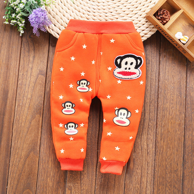 Дети плюс бархатные зимние брюки мальчиков и девочек толстый хлопок теплые брюки детские брюки мультфильма