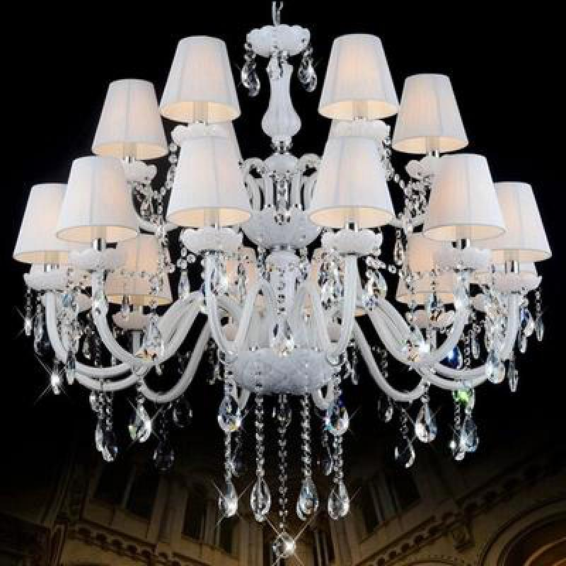 Foyer white chandelier glass Lamp with cloth shade for villa Hall Living Room Hotel lighting Fixtures church LED hanging lampFoyer white chandelier glass Lamp with cloth shade for villa Hall Living Room Hotel lighting Fixtures church LED hanging lamp