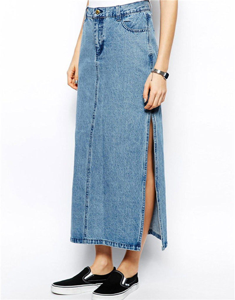 Autumn new 2014 long denim skirt female side of the slit long jean ...