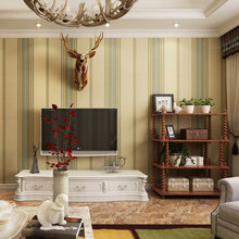 PAYSOTA American Style Vertical Striped Wallpaper Nostalgic Retro Living Room Bedroom Study TV Background Wall Paper