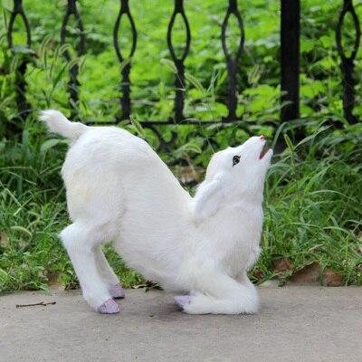 Mignon simulation petit mouton modèle jouet polyéthylène et fourrures s'agenouiller chèvre bébé modèle cadeau environ 67x23x40 cm 0693