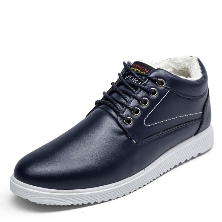 De Designer Fourrure Nouveau Étudiants Amshca Étanche Plat Noir Hommes blue Chaussures Cuir Solide Doux En Hiver Casual Homme brown SFxxB5qvw
