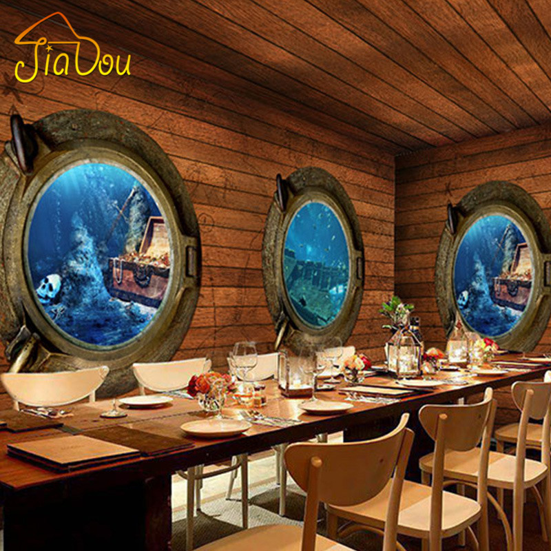 Bar Wallpaper: Custom 3D Stereo Pirate Wood Mural Wallpaper Retro
