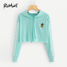 ROMWE Women Sweatshirt Pineapple Embroidered Gingham Hoodies Green Fall Hooded Pullover Crop Tops Patched Plaid Sweatshirts(China)