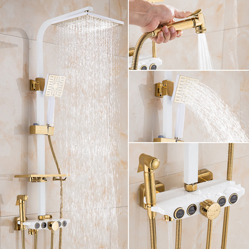Bathroom Luxury White Golden Shower Set With Quality Brass Shower Faucet And Quality ABS Shower And Stainless Steel Shower Hose