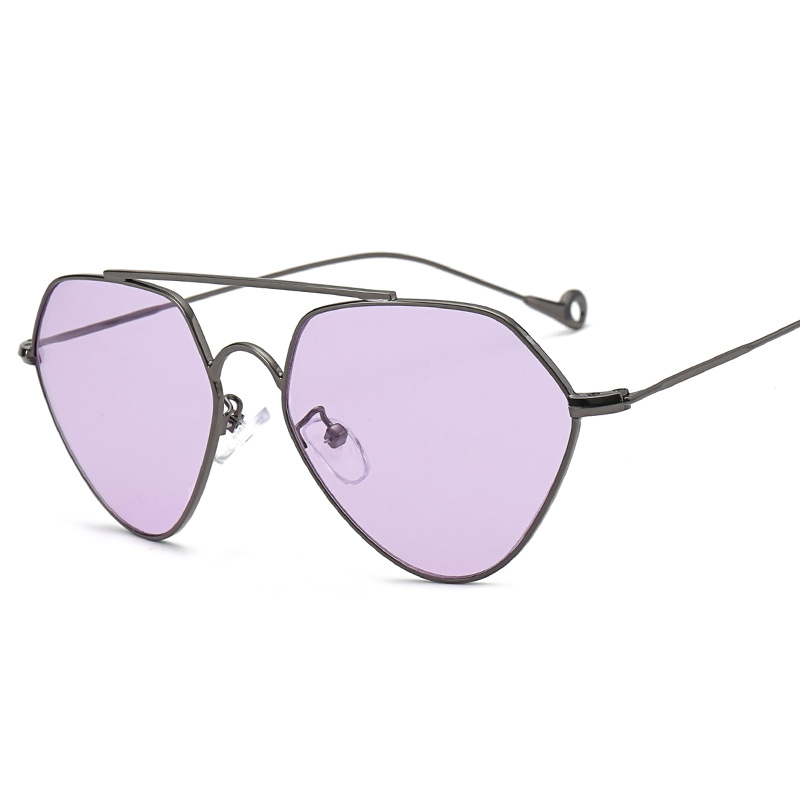19965f0c05a0a Moda Triângulo Projeto da Forma Das Mulheres Da Marca óculos de Sol  Feminino Óculos barato oceano moda óculos de lentes coloridas óculos de sol  do metal