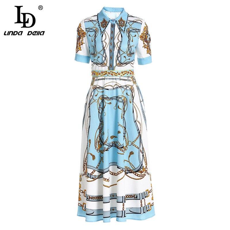LD LINDA DELLA 2019 Fashion Runway Suummer Holidays Long Dress Women 39 s Gorgeous Printed Beading Vintage Elegant Dress in Dresses from Women 39 s Clothing