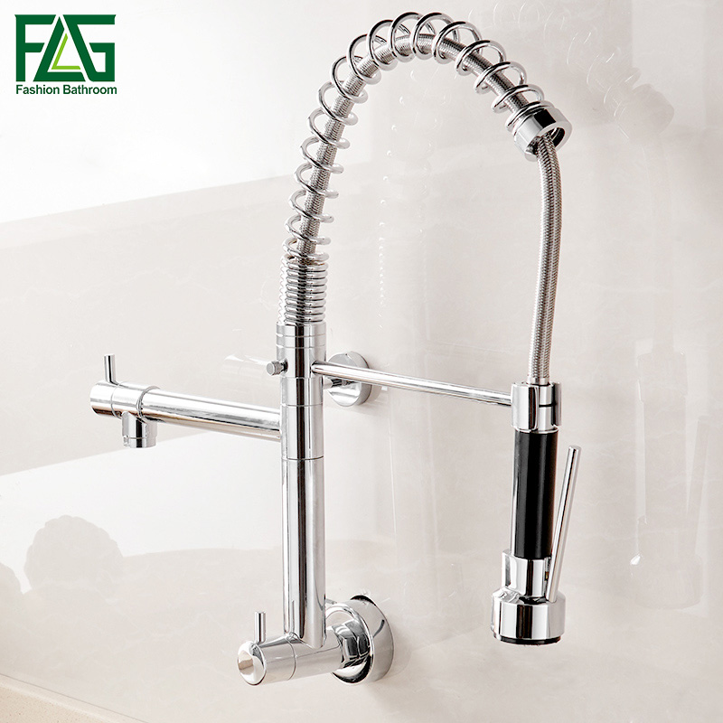 FLG Wall Mounted Kitchen Faucet Pull Down Kitchen Mixer LED Kitchen Sink Tap 360 Degree Swivel 2 Function Spring Taps AEG990-99C