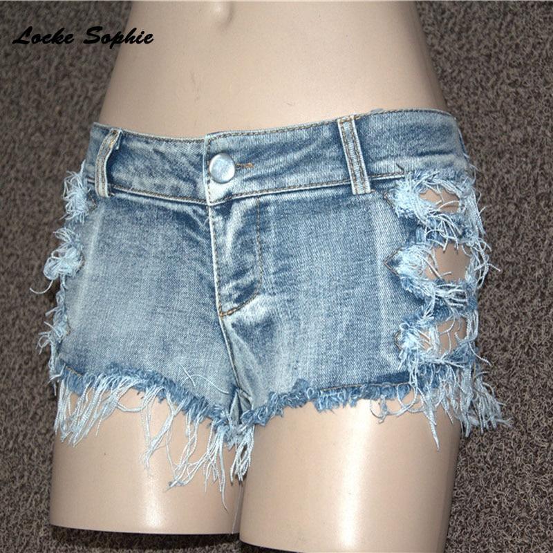 1pcs Low waist Women Sexy super denim shorts 2019 Summer denim cotton Splicing broken hole Ladies Skinny club super short jeans