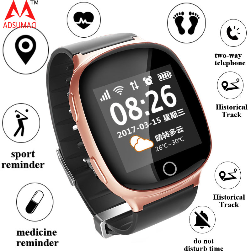 Smart Watch GPS+LBS+WIFI Positioning Heart Rate Tracker SOS Medicine reminder Fall Alarm SOS Wristwatch for Old People Elder