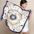 90 cm * 90 cm H clave brújula rastro de simulación toalla protector solar mantón de la bufanda de seda