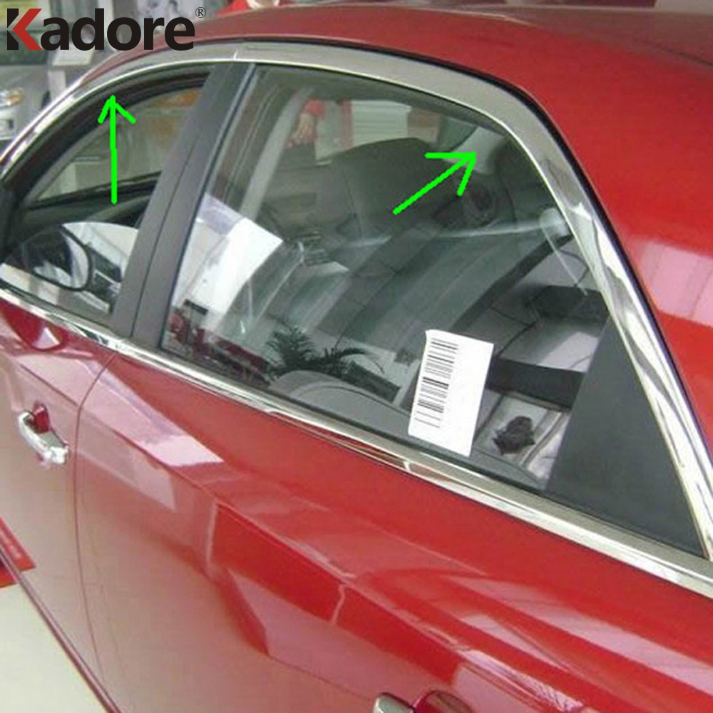 Car Styling Fit For Kia Forte Cerato 2010 2011 2012 Stainless Steel Auto Window Trims 4PCS/SET Window Glass Molding Strips lsrtw2017 car styling car trunk trims for honda crv 2017 2018 5th generation
