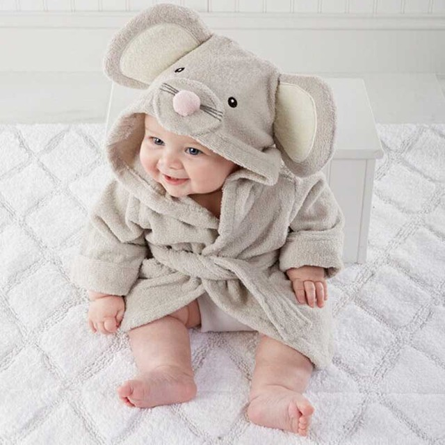 Boy Girl Animal Baby Bathrobe Newborn Baby Bath Hooded Towel Cotton