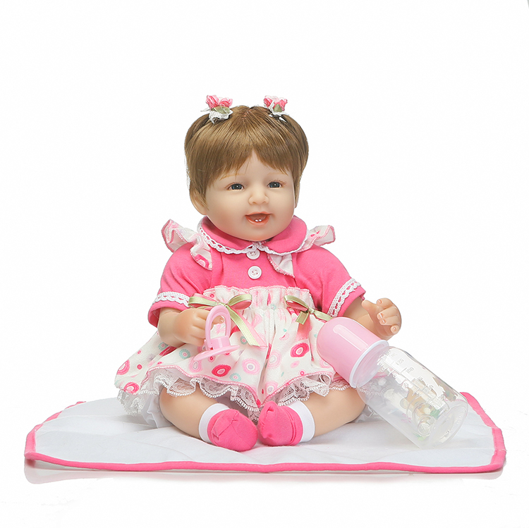 40cm Silicone Reborn Smile Babies Dolls Toys Lovely Newborn Girl Baby Doll For Kids Girl Brinquedos Fashion Child Birthday Gifts hot sale toys 45cm pelucia hello kitty dolls toys for children girl gift baby toys plush classic toys brinquedos valentine gifts