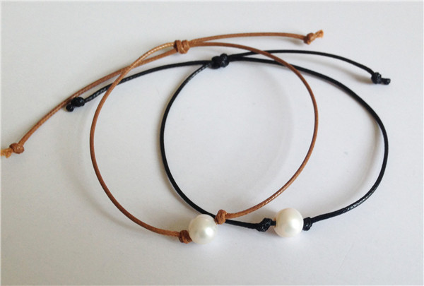 Unique Natural Pearl Bracelet Brown Leather Bangles Knotted Single Jewelry Sliding Knot Freshwater Whole In Charm Bracelets From