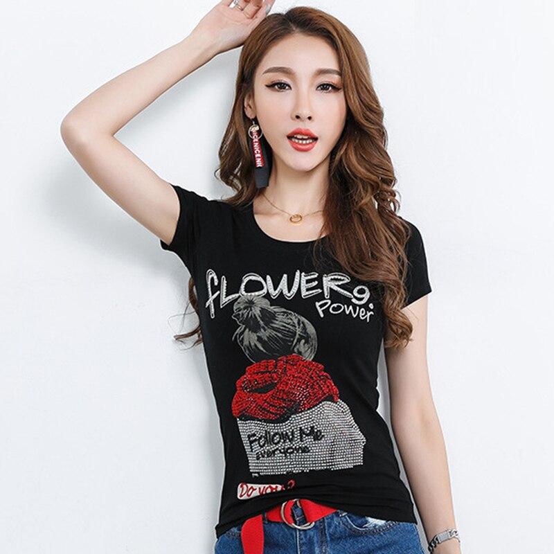 Летняя женская модная хлопковая футболка, тонкая футболка с коротким рукавом и 3D рисунком, красивая футболка со стразами, топы, женские черные футболки|Футболки|   | АлиЭкспресс