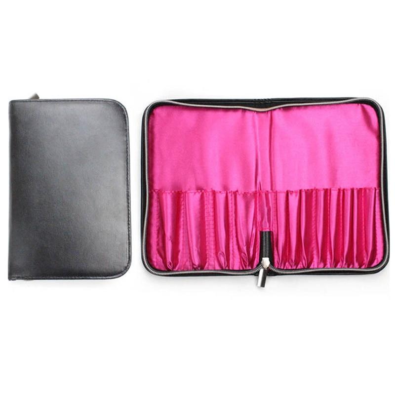 Zwart 12 Zakken Make Borstel Houder Case Bag Rits Artist Belt Strap Cosmetische Brush Up Kwasten PU Houder Schort Zakken