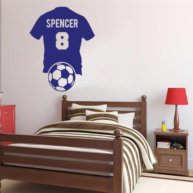 Art Home Decor Gepersonaliseerde Naam & Nummer Voetbalshirt Voetbal Muurtattoo Vinyl Sticker Kid Jongen Kamer