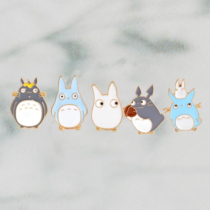 5pcs/set Japanese Anime Miyazaki Hayao Kawaii Cartoon My Neighbor Totoro Brooches Pins Girl Jeans Bag Decoration For Friend(China)