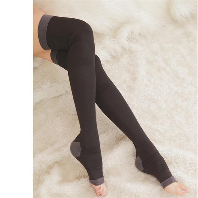 € 6.7  Compression jambe Shaper varices Anti Fatigue Massage corps soins de  santé bas soutien du genou Slim contrôle Shapewear dans Bas de ...