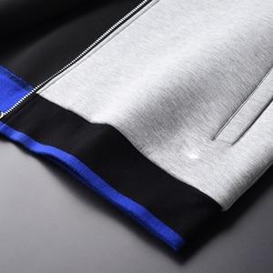Image 4 - Sudaderas con capucha grises Minglu, sudaderas con capucha de tela combinada de lujo para hombre, sudaderas de talla grande 3XL 4XL, sudadera ajustada para primavera para hombre