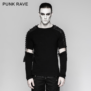 PUNK RAVE Men's Punk Street Cool T-shirt Gothic Motocycle Style Fashion Detachable Long Sleeve T-shirt Hip Hop Personality Tops