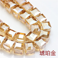Zhubi 8mm 10mm AB Plating Beads Crystal Glass Square Cube Spacer Loose Beads For DIY Jewelry