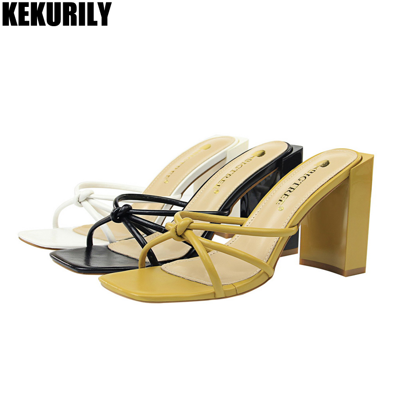 Women Shoes Fashion narrow band slippers ladies mules Casual Slides chunky High heel Sandals zapatos mujer Black yellow white