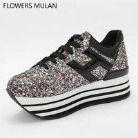 Glitter Silver Multi Platform Oxford Women Shoes Lace Up High Heels Top High Quality Leather Casual Shoes Sneaker For Women's