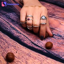 susenstone 8pcs/Set New Bohemian Vintage Punk Boho Rings For Women Beach Unique knuckle Ring Set Fashion Rings Accessories 2017(China)