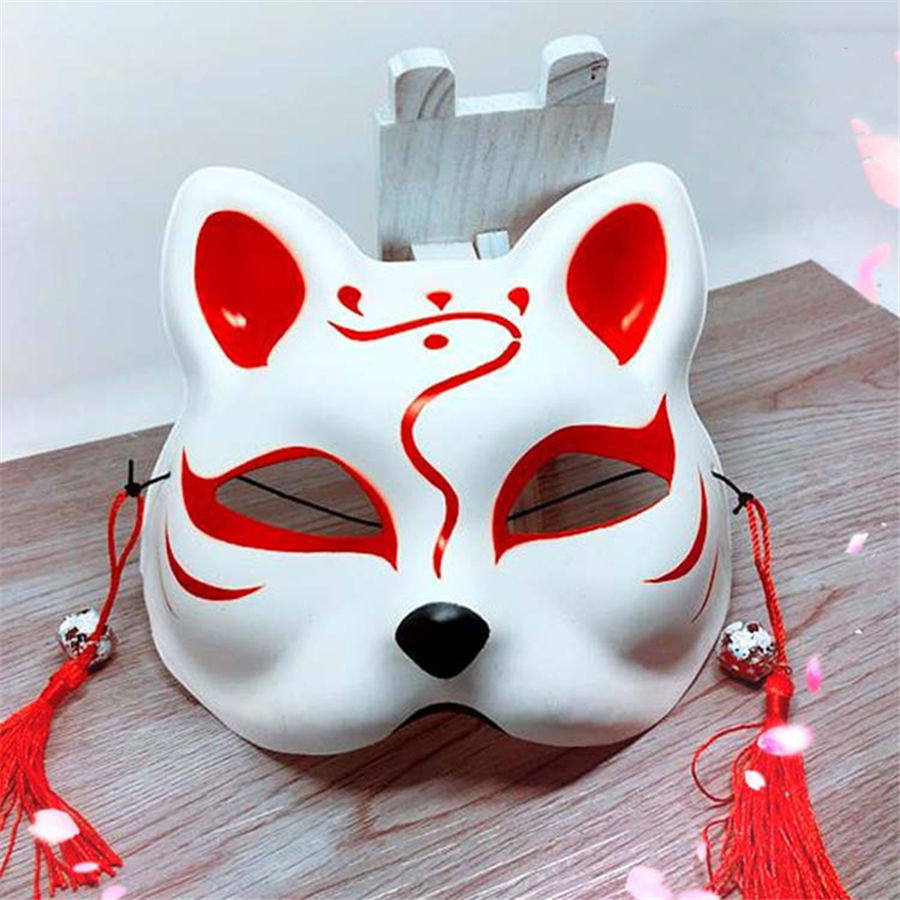 LeadingStar Japanese Fox Half Mask with Tassels and Small Bells Cosplay Mask for Masquerades Festival Costume Party Show zk 15 kijo momiji cosplay onmyoji japanese maple leaves kimono cosplay costume with hair accessory