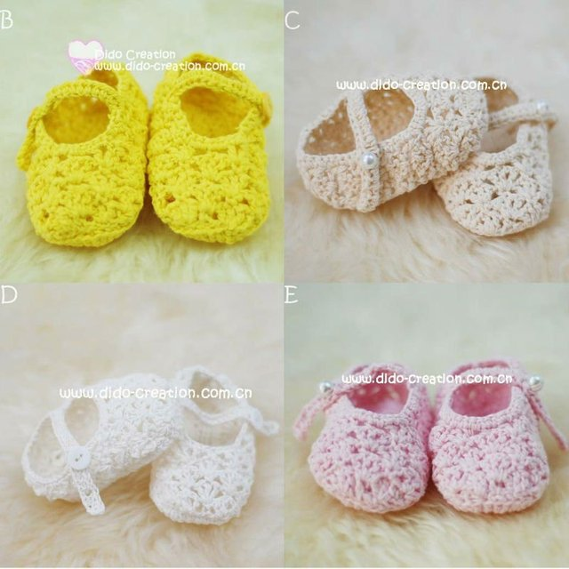 4 Pairslot 100 Cotton Handmade Crochet Baby Footwear Crib Mary