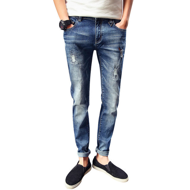 Spring and Autumn Jeans Men 39 s New Street Trends Broken Cotton Jeans Worn worn washed cats feet casual trousers in Jeans from Men 39 s Clothing