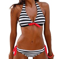 Sexy Bikinis Sets Push Up Women Swimsuit Swimwear Halter Top Plaid Brazilian Bikini Set Bathing Suit