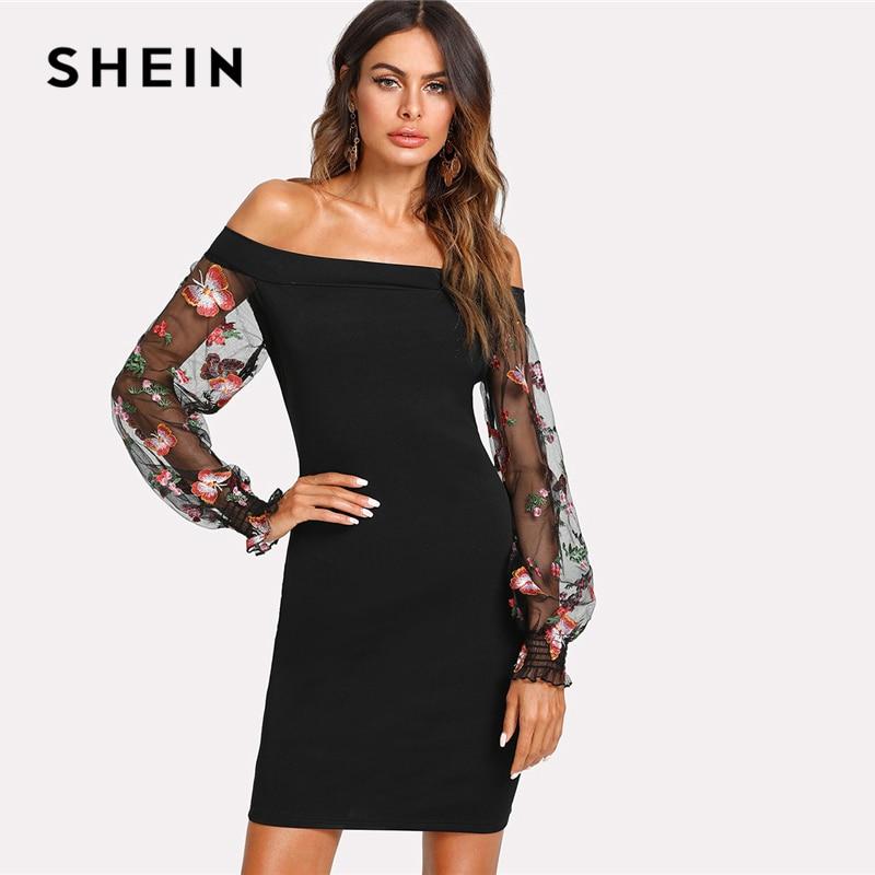 d058b1171a40 SHEIN Embroidered Mesh Sleeve Bardot Dress Black Off The Shoulder Puff  Sleeve Women Bodycon Dress 2018 Sexy Short Party Dress