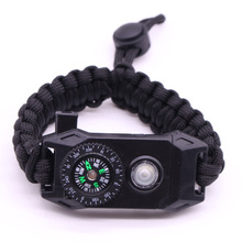 Outdoor Survival Wristband Survie SOS LED NightLight Braided Paracord Camping Multifunctional Compass Whistle Bracelet Tool Kit