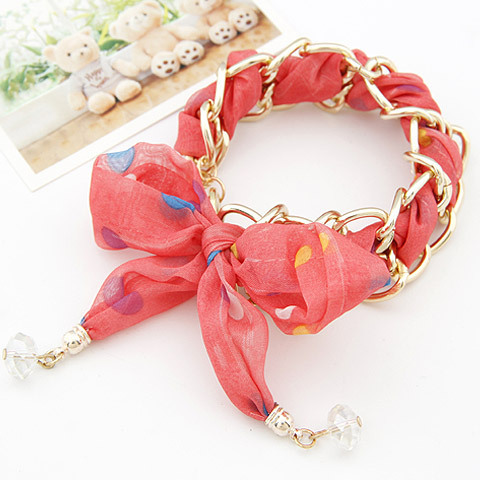 601 Hot Fashion Korean Dot Fabric Art Bowknot Silk Ribbon Gold Multilayer Women Bracelets & Bangles B1563