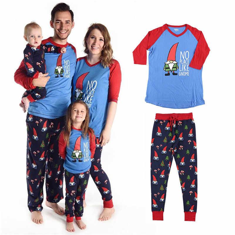 0f0b93c8cd Family Matching Christmas Pajamas PJs Sets Adult Baby Kids Xmas Sleepwear  Nightwear Top+Pants 2017