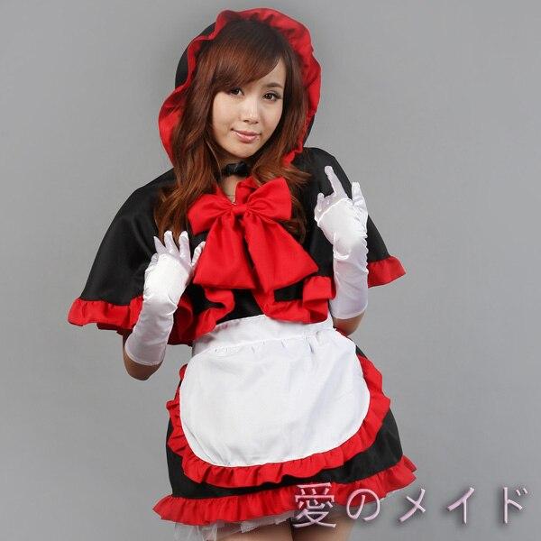 Tenue de femme de chambre sorcière Halloween noir et rouge à capuche robe de chambre Costume Cosplay dames de noël