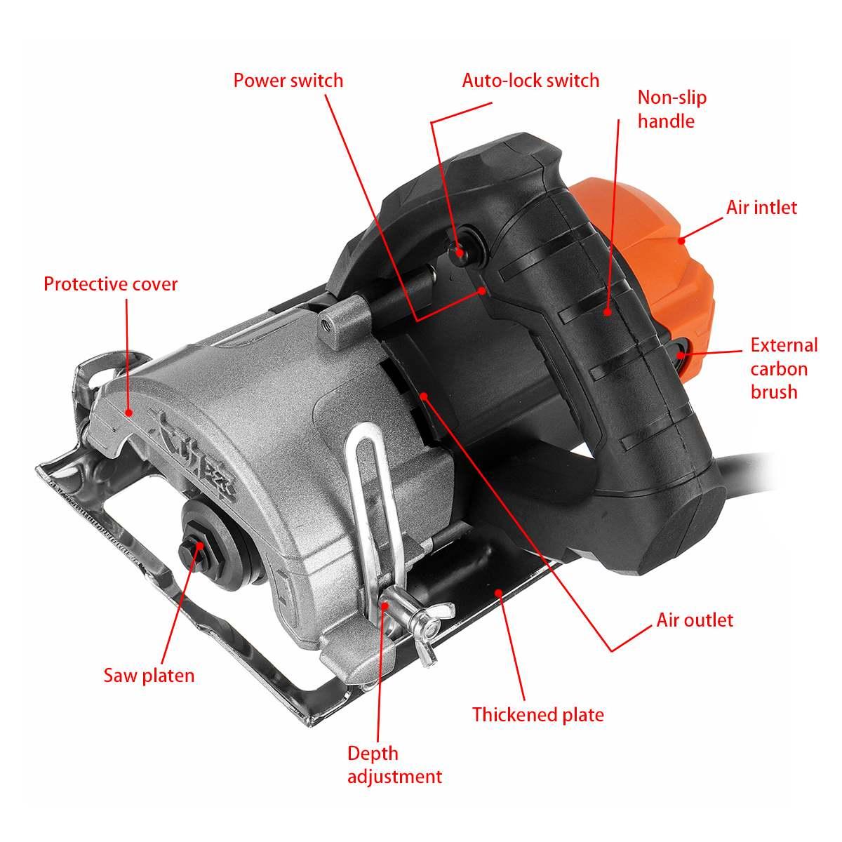 1180W moteurs de scie électrique 110mm lame 13000 tr/min haute vitesse bois métal portable Machine de découpe fil scie céramique marbre carrelage outil - 3