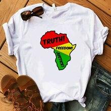 Fashion Colorful Africa Truth Freedom Graphic Women T Shirt Short Sleeve Urban Wear Gift Pan African Streetwear Tshirts