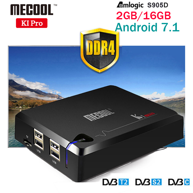 MECOOL KI PRO DVB Android 7.1 TV Box DVB-T2/DVB-S2/DVB-C Amlogic S905D Quad 2G+16G Support Set Top Box Clines NEWCAMD PK KIIPRO