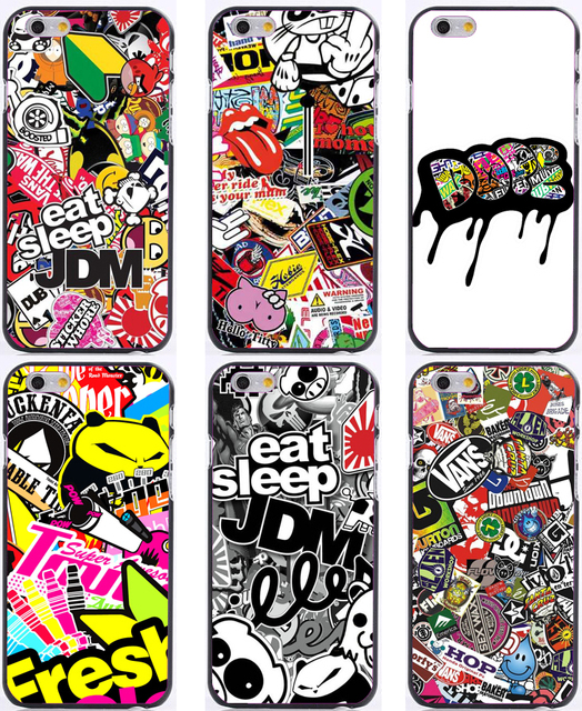 Jdm sticker bomb design print background plastic hard phone cases for iphone 6 case 6plus 5