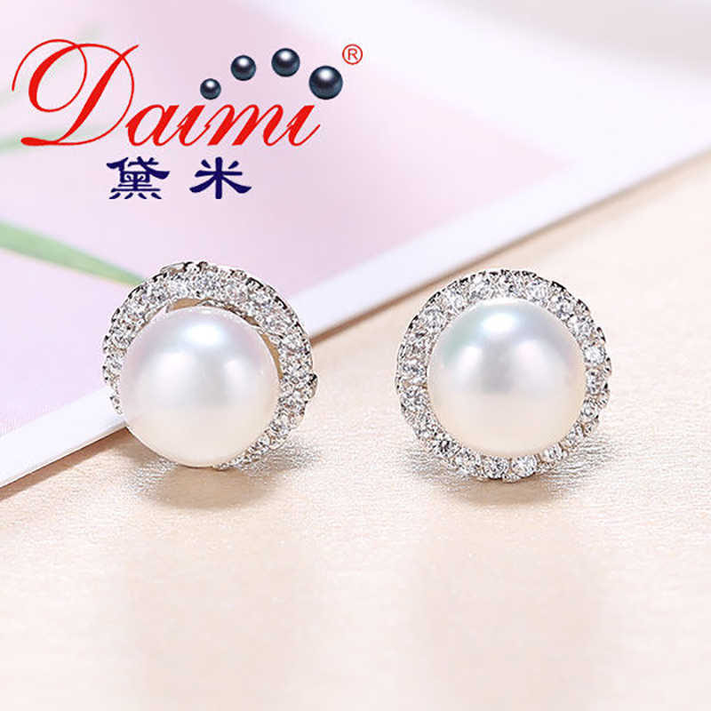 DMCEFP028 7-8MM Pearl Earrings Real 925 Sterling Silver Semi-Round Pearl Earrings For Women