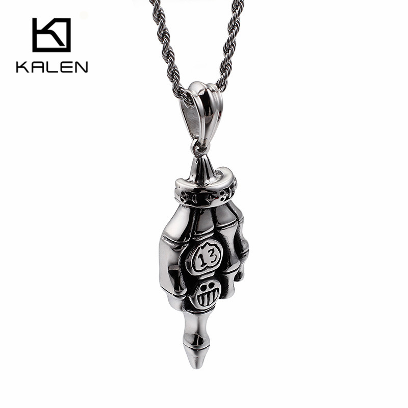 KALEN Unique Skull Hand Pendant Necklaces Mens 316 Stainless Steel Punk Skull With Smile Face Expression Necklace Biker Jewelry