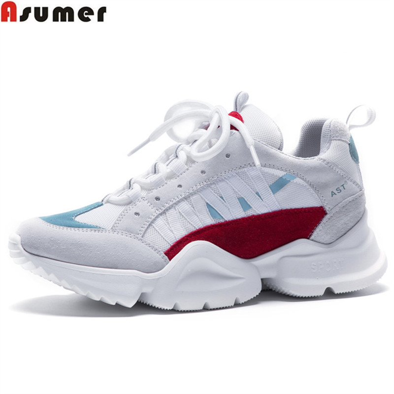 ASUMER 2018 fashion spring autumn shoes woman round toe lace up casual sneakers shoes comfortable mixed colors women flats asumer black fashion spring autumn ladies shoes round toe lace up casual women flock cow leather shoes flats