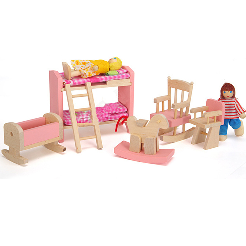 Girls Kids Childrens Wooden Nursery Bedroom Furniture Toy: Abbyfrank 1 Set Wooden Furniture Doll Toy Pretend Play
