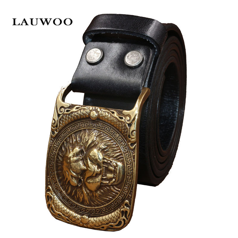 Fashion real brand men belt high quality first layer of leather production selection lion head copper buckle lead